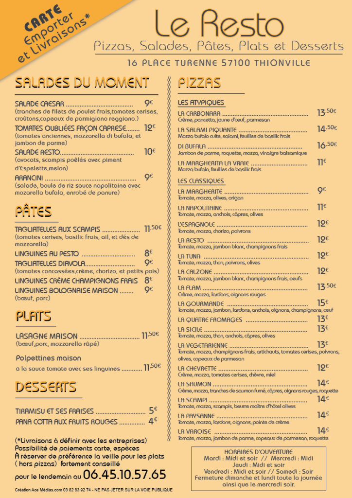 Carte Menus et Pizzas - Le Resto Thionville